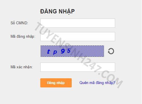 Cửa sổ đăng nhập vào trang tra cứu thông tin.